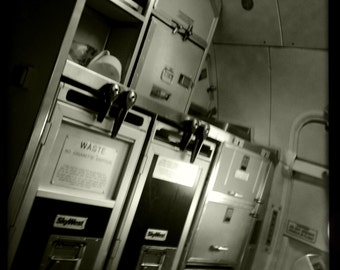 Airplane Galley and Exit on Regional Jet 5, Airline Decor, Aviation, 10x10 Photograph, Aircraft Symbol, Airplane Interior, Beverage Carts