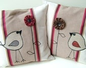 Tweet Appliqued Bird  Pillow Cushion with Yoyo Puff Flower (TW114, TW115)