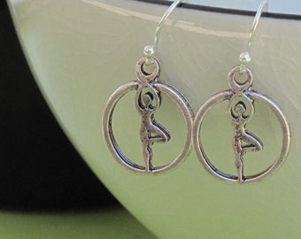Yoga Earrings, Tree Pose Earrings, Yoga Jewelry, Yoga Gift, Balance