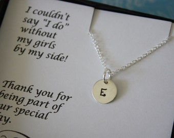 8 Bridesmaid Necklaces Personalized, Bride Necklace, Bridesmaid Gift, Silver Initial Charm, Thank you card