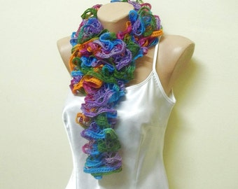 Knit ruffle scarf, colorful scarf, birthday gift, gift for her, gift for mom, winter scarf, womens clothing, womens accessories