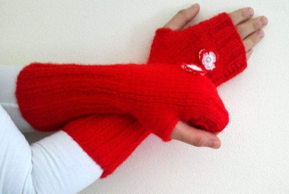 Knitted long fingerless gloves, in red with a white crochet flower, gift for her, valentines day gifts, christmas mittens, free shipping
