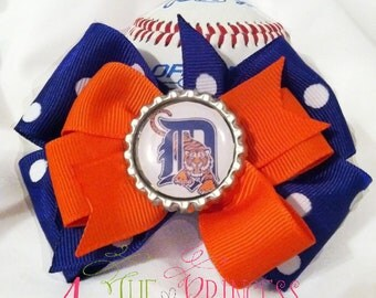 Tigers bow, MLB bow, baseball bow, orange blue, stacked bow, boutique bow