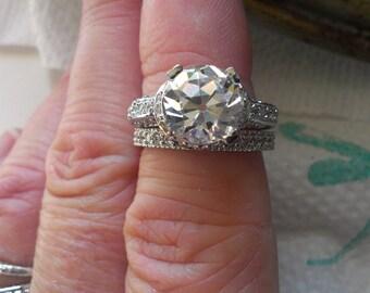 Old European Cut Engagement/Wedding Ring Set - Engagement Ring Set - Antique Reproduction Engagement Ring