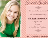 Printable Sweet Sixteen / Quineanera Birthday Invitation Pink Stripes No.8