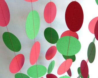Red and Green Garland, Christmas Decor, Holiday Decoration, 10 ft. long.