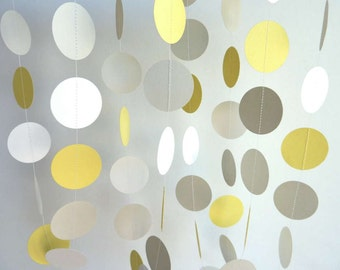Yellow, Gray & White Circle Paper Garland, Wedding, Birthday, Baby Shower, Nursery, 10 feet long