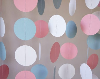 Pink / Blue / White Circle Paper Garland, Baby Shower, Nursery Decor, 10 ft. long