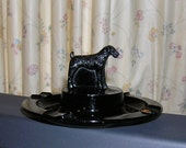 Black Ebony Glass Ash Tray Airedale Terrier Dog L E Smith Glass Greensburg Glass Works Ca 1930s Tobacciana Tobacco