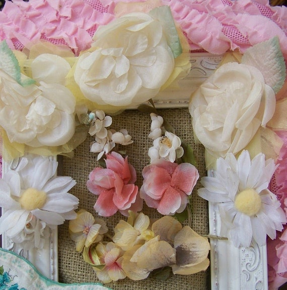 SALE--Set of 8 Shabby Chic Vintage Millinery Flower Sets in Yellows and Pinks