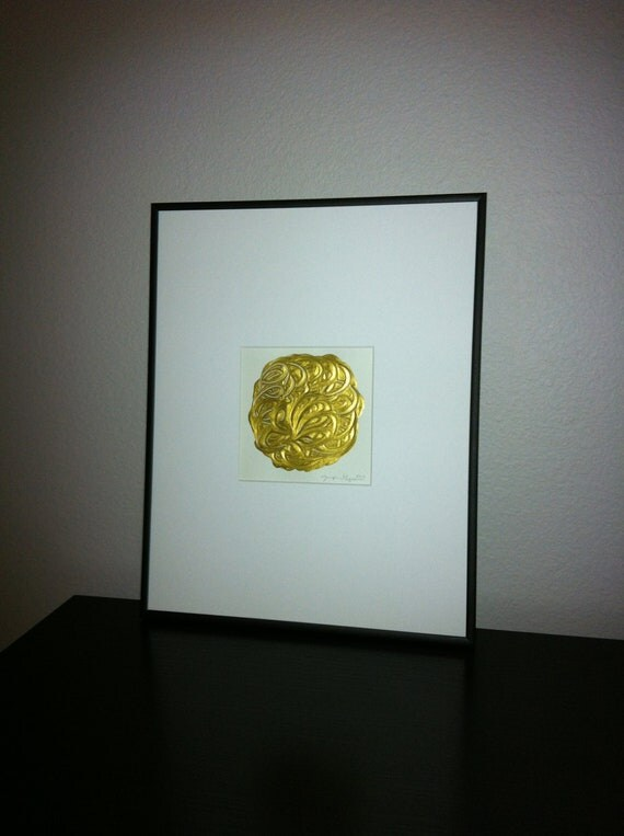 Modern Abstract Art Painting with Gold Paint.  5x5 Art, 11x14 matted.  Hand designed circular design with texture and flow.