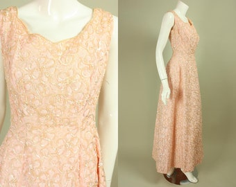 Vintage 1960's PINK LACE GOWN Sequined Dress Sequins Tulle Underskirt Formal Cocktail Party Bombshell Sleeveless Prom