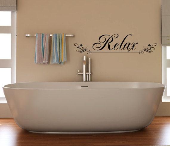 Items similar to relax vinyl decal wall art for a bathroom for Bathroom vinyl decor