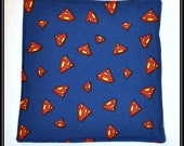 Burp Cloth -- Superman Logo Cotton with White Terry Cloth -- Geek-a-bye Baby - Comic Geek - Handmade, Retro DC Comics