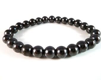 Magnetic Hematite Stretch Bracelet 7mm - 8mm Round Bead Bracelet