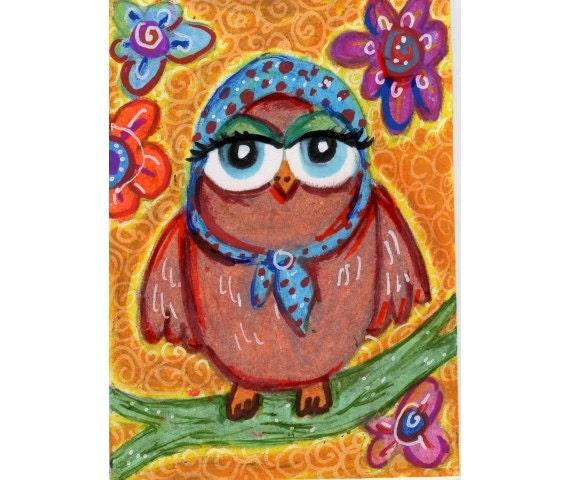Items Similar To Owl Print, Folk Art Print, Owl Room Decor