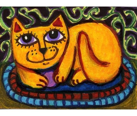 Whimsical Animal Art, Cat Print, Kids Wall Art, Yellow Cat Art, Girls Room Decor,Orange And Blue, Orange Cat Print by Paula DiLeo