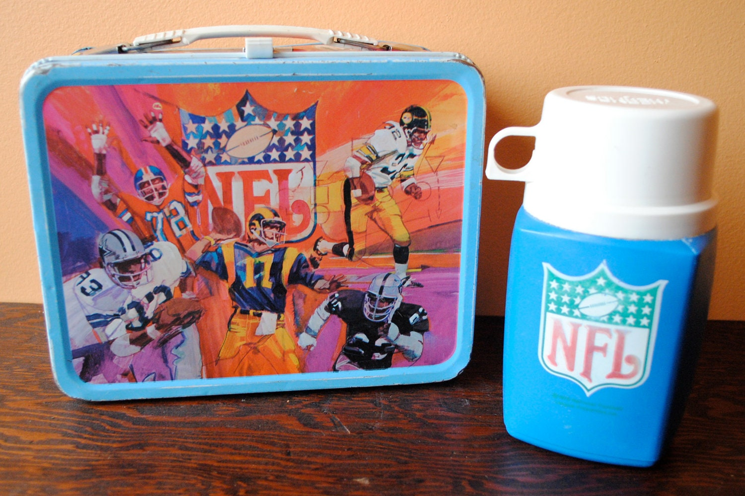 Vintage NFL Lunch Box  Thermos 1979