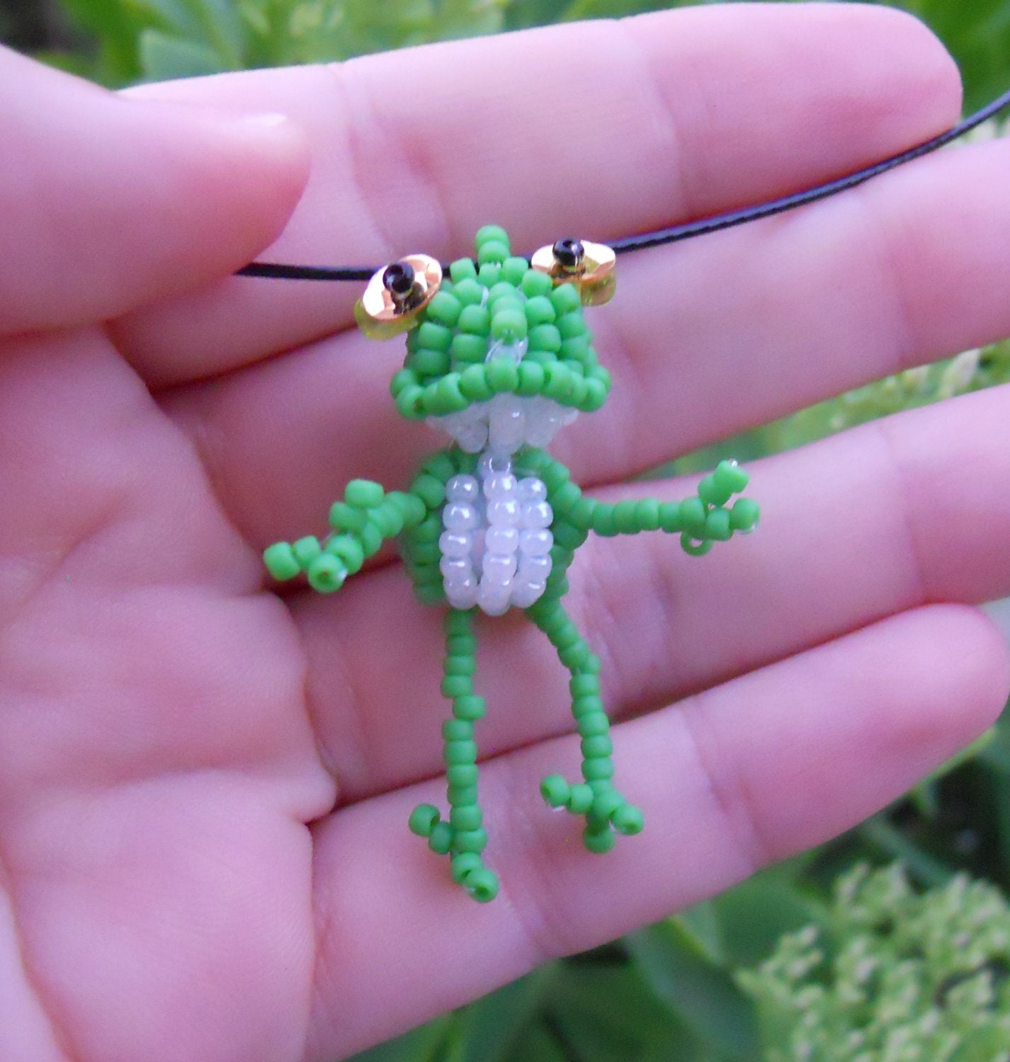 frog necklace seed bead doll beaded bead pendant