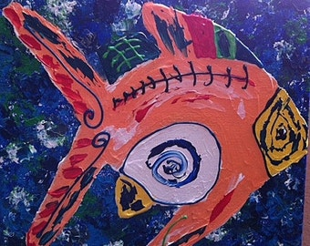 Crazy Fish Painting 12x12 Acrylic on Canvas Original Artwork