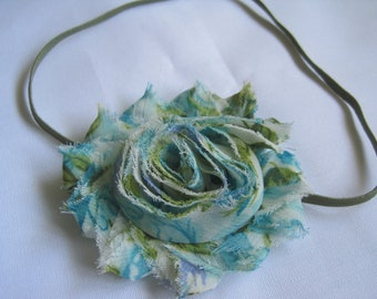 Blue and Green Floral Headband, Baby Headbands, Baby Bows, Baby Girl Headbands, Infant Headbands, Infant Bows, Newborn Headbands