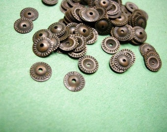 100pc 7mm antique bronze lead free bead caps-2318