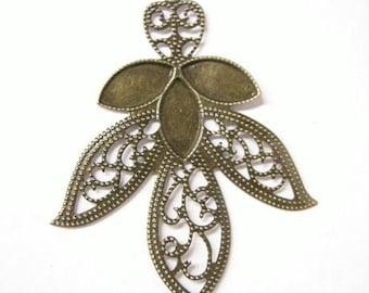 8pc antique bronze filigree leaf shape pendant-5719