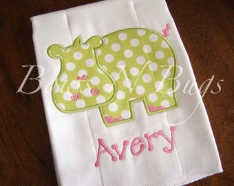Cute Hippo Applique Burp Cloth With Monogram - Great Baby Gift