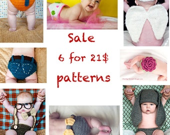 SALE- Buy 6 Patterns for 21 Dollars