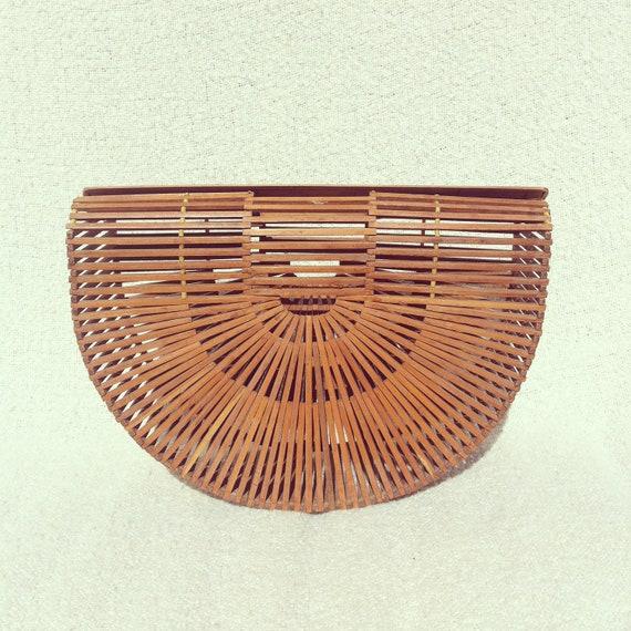 1950s Bamboo Basket Bag Half Moon Shape Handbag Purse Clutch