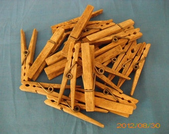 Vintage Authentic Time Worn Wooden Clothespins - 20 Count