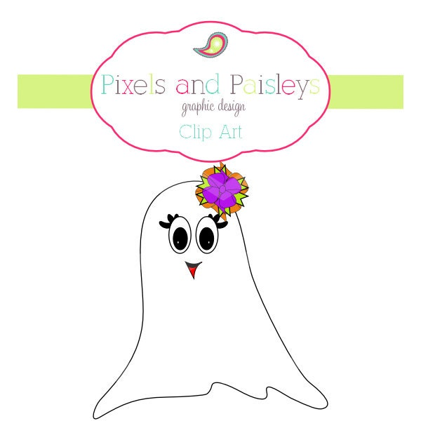 INSTANT DOWNLOAD Personal Use Commercial by pixelsandpaisleys Girl Ghost Clipart