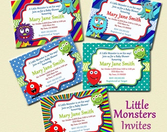Monster Baby Shower Invites Little Monster Party Invitations Printable Little Monster baby  Invitations