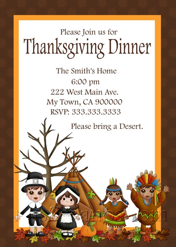 thanksgiving dinner invitation diy printable by m2mpartydesigns
