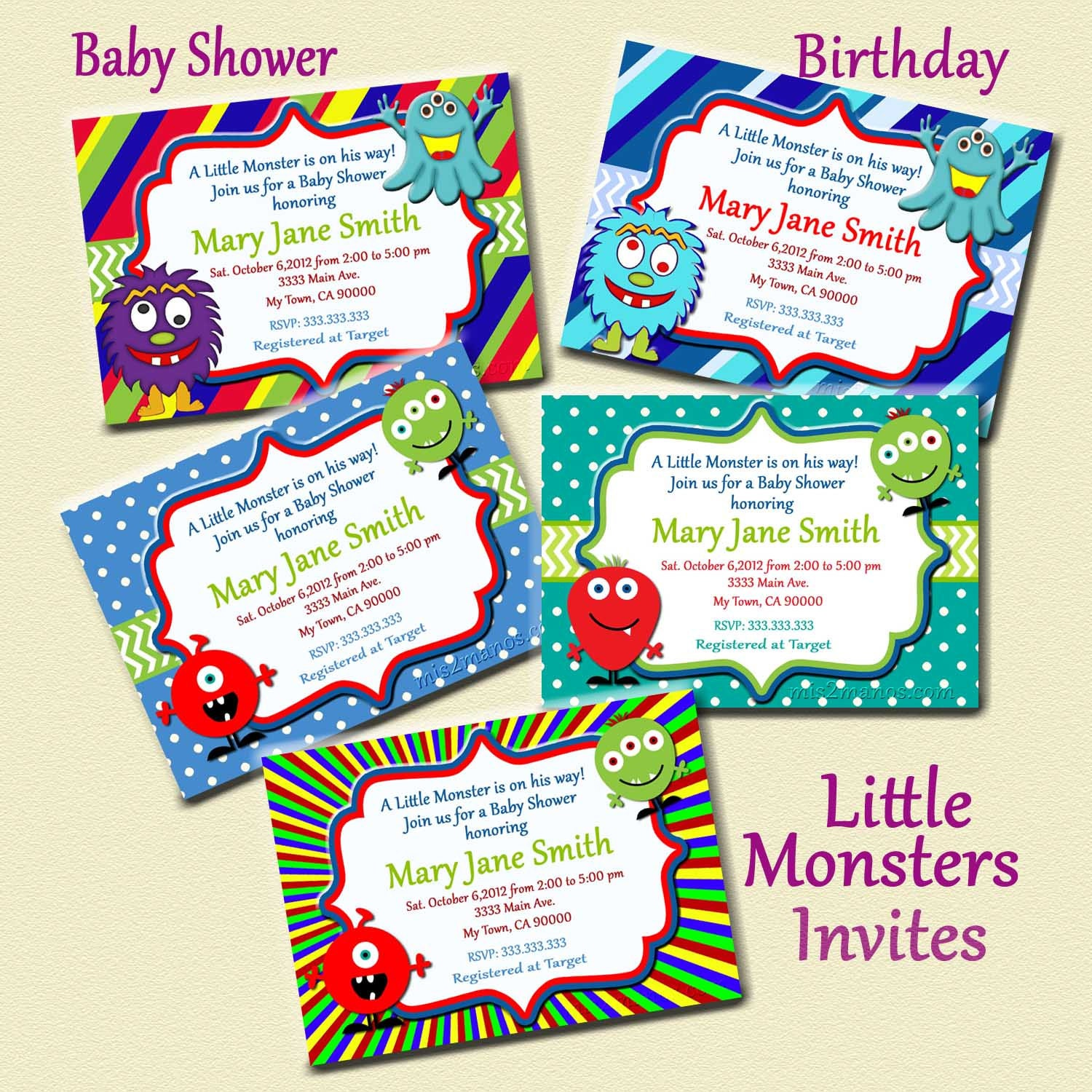 monster baby shower invites little monster by m2mpartydesigns