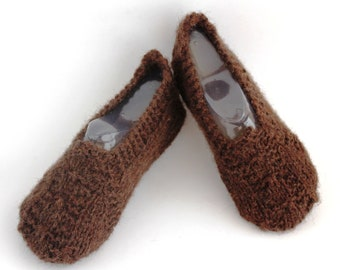 ON SALE Brown Natural Wool Women Slippers. 100% Wool S/M size