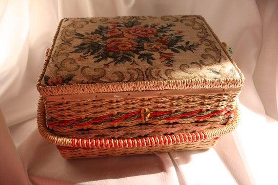 Vintage Large Sewing Basket with Tapestry Detailed Lid