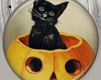 Black Cat Pumpkin - Halloween Accessory - Party Favors - Mirror - Compact Mirror Illustration Image A63