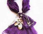Purple Jewelry Scarf Necklace, Wrinkled Silk Scarf Necklace, Embroidery bip Jewelry, Necklace
