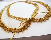 gold  embroidered collar necklace - gold plated necklace-silk collar necklace-Decorated Detachable Collar for Women