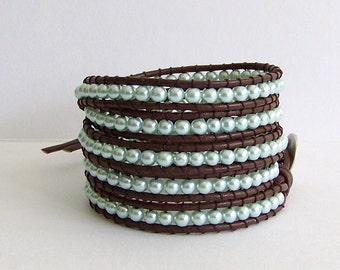 Leather Wrap Bracelet with Blue Pearls on Brown Leather