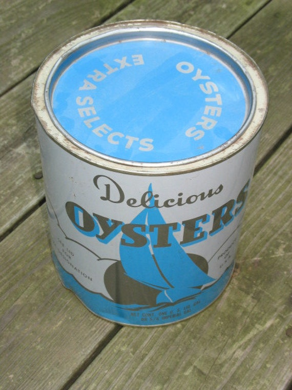 Great Antique Oyster Can -- large 8 x 6