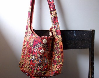 Upcycled Southwestern Hippie Shoulder Sling Cross-Body Bag