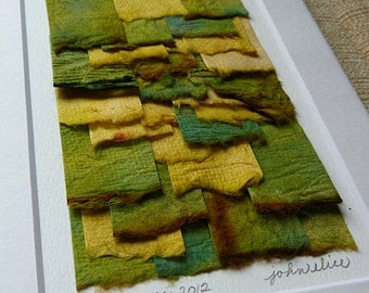 Contemporary Handpainted Torn Paper Collage