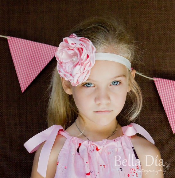 BiG Ruffle Satin Fabric Flower in Pink...by Sassy Chic
