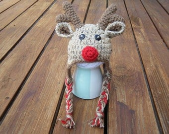 Red Nosed Reindeer hat- Made to Order- Any Size
