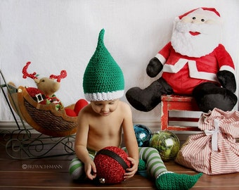 Green Elf Hat and Shoe Set- Made to Order- Any Size