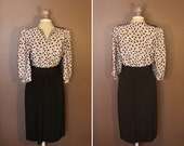 Tan and black 1980s dress with boomerang pattern Size XL or XXL - Plus Size