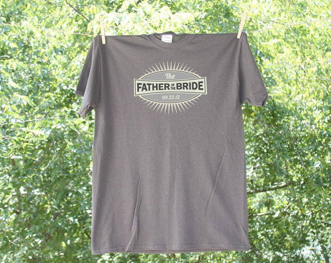 Grey Emblem Father of The Bride Wedding Party Shirt with Date - 15M