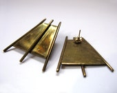 Vintage Brass Art Deco Easel Shaped Earrings